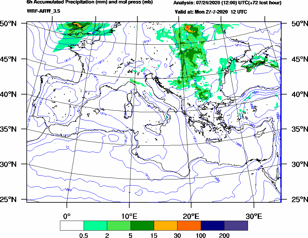 6h Accumulated Precipitation (mm) and msl press (mb) - 2020-07-27 06:00