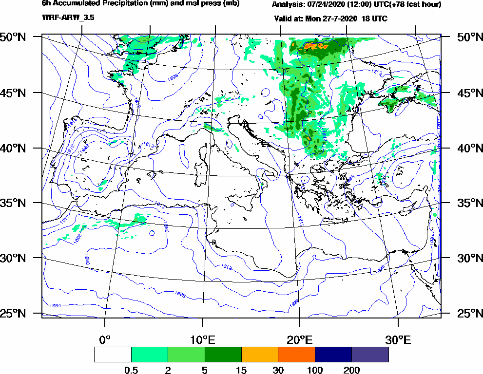 6h Accumulated Precipitation (mm) and msl press (mb) - 2020-07-27 12:00