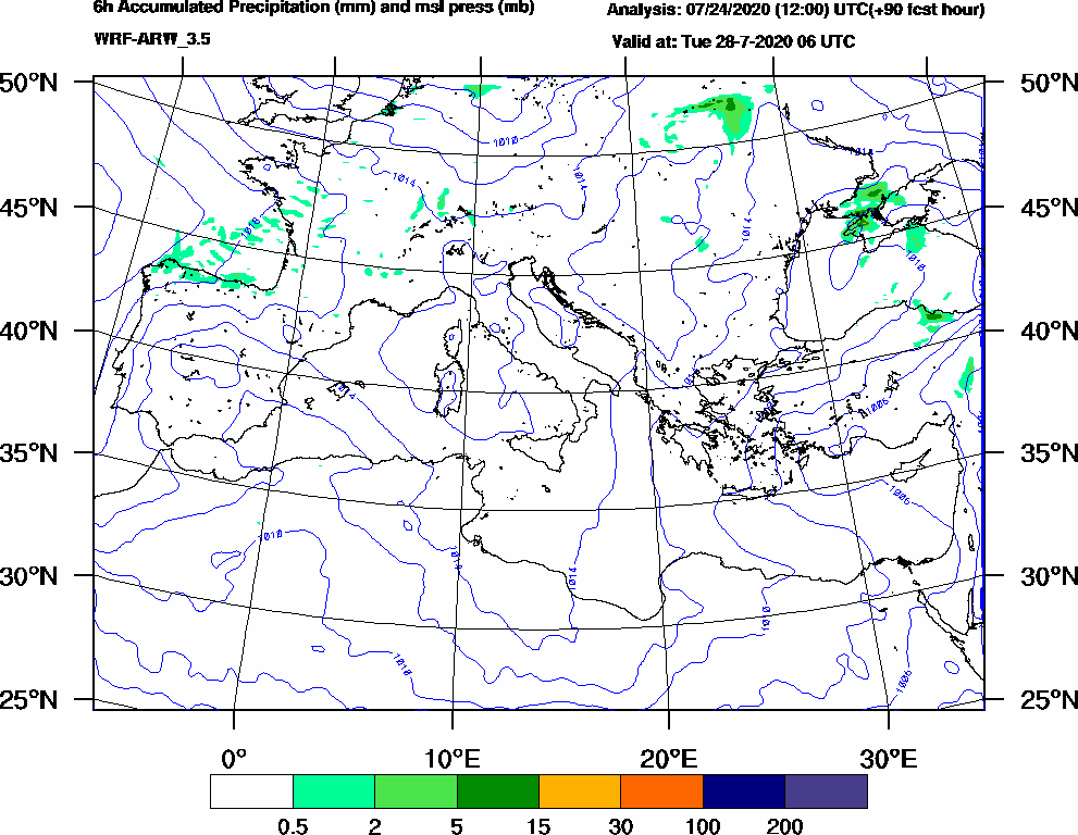 6h Accumulated Precipitation (mm) and msl press (mb) - 2020-07-28 00:00