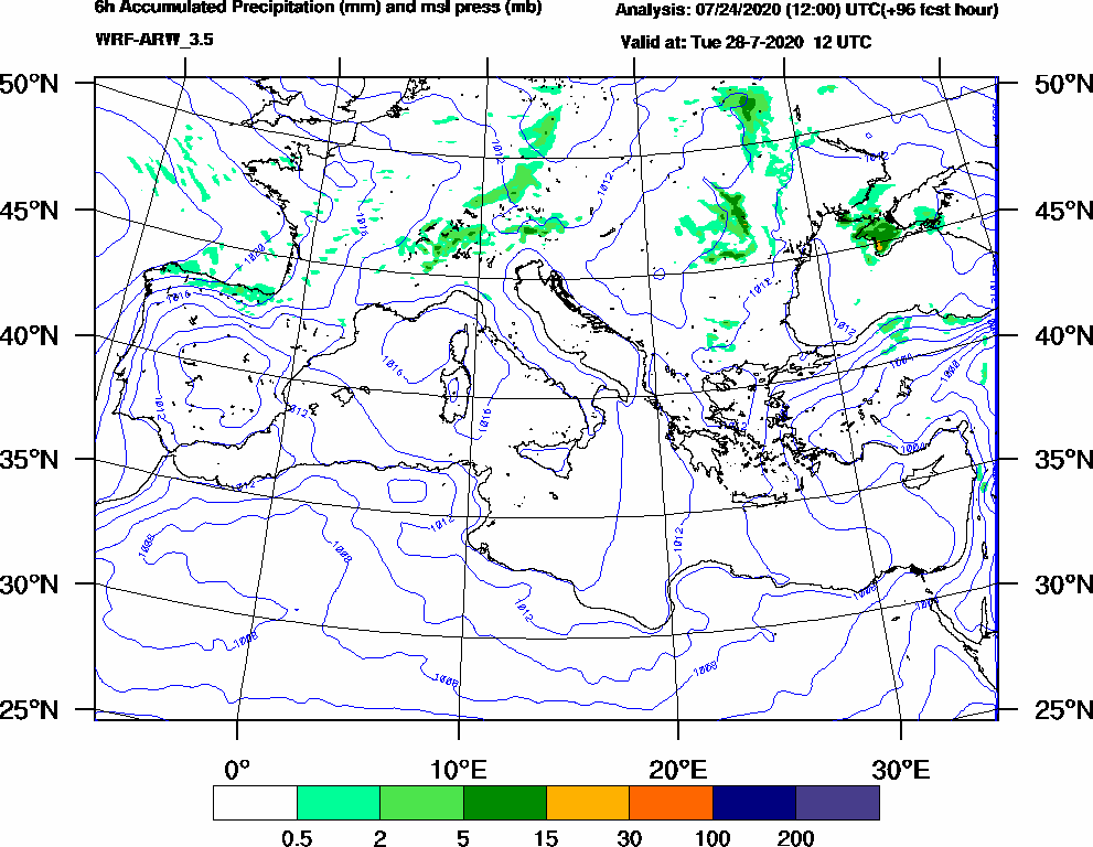 6h Accumulated Precipitation (mm) and msl press (mb) - 2020-07-28 06:00