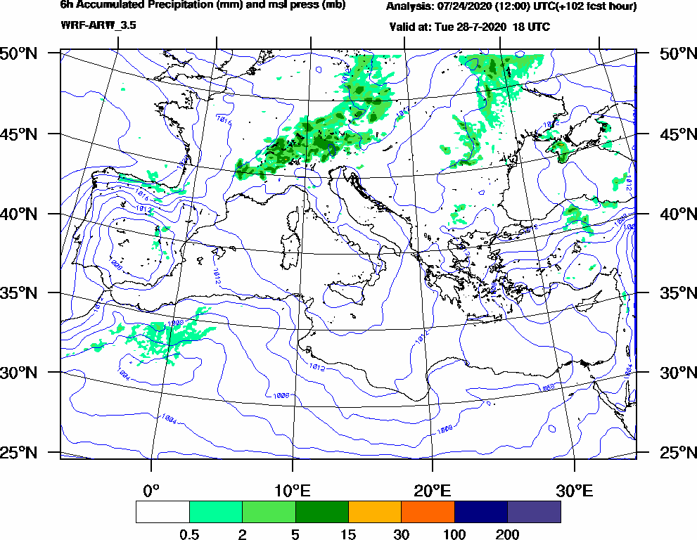 6h Accumulated Precipitation (mm) and msl press (mb) - 2020-07-28 12:00