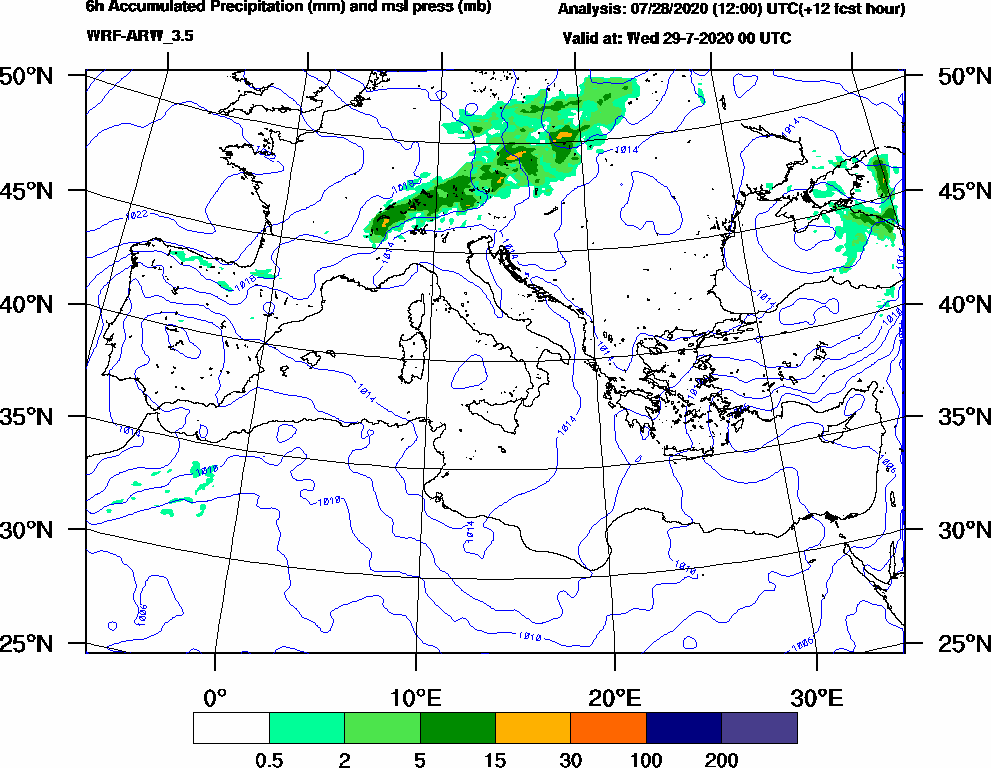 6h Accumulated Precipitation (mm) and msl press (mb) - 2020-07-28 18:00