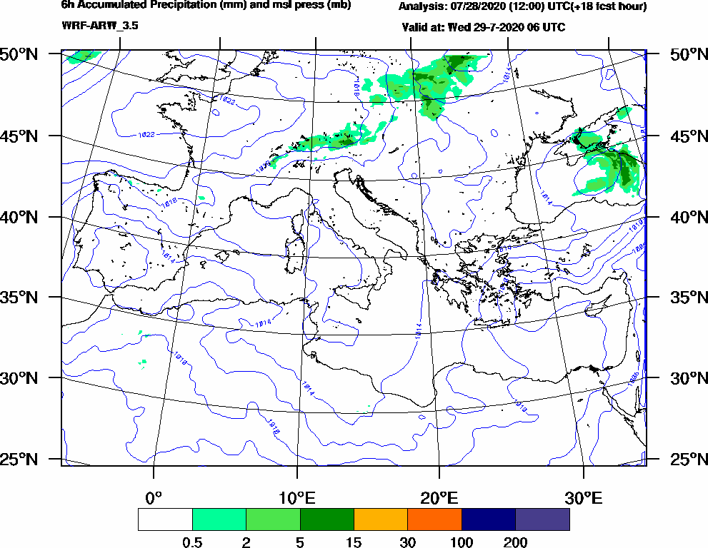 6h Accumulated Precipitation (mm) and msl press (mb) - 2020-07-29 00:00