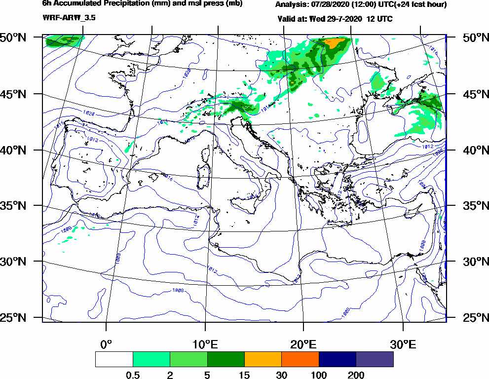 6h Accumulated Precipitation (mm) and msl press (mb) - 2020-07-29 06:00