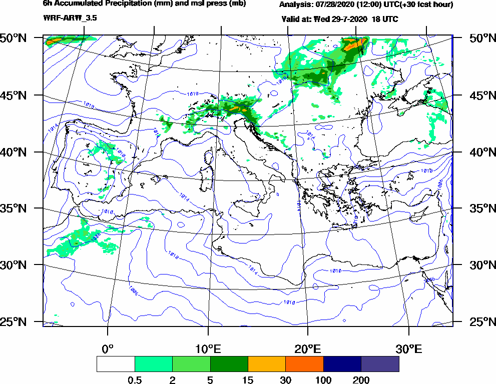 6h Accumulated Precipitation (mm) and msl press (mb) - 2020-07-29 12:00