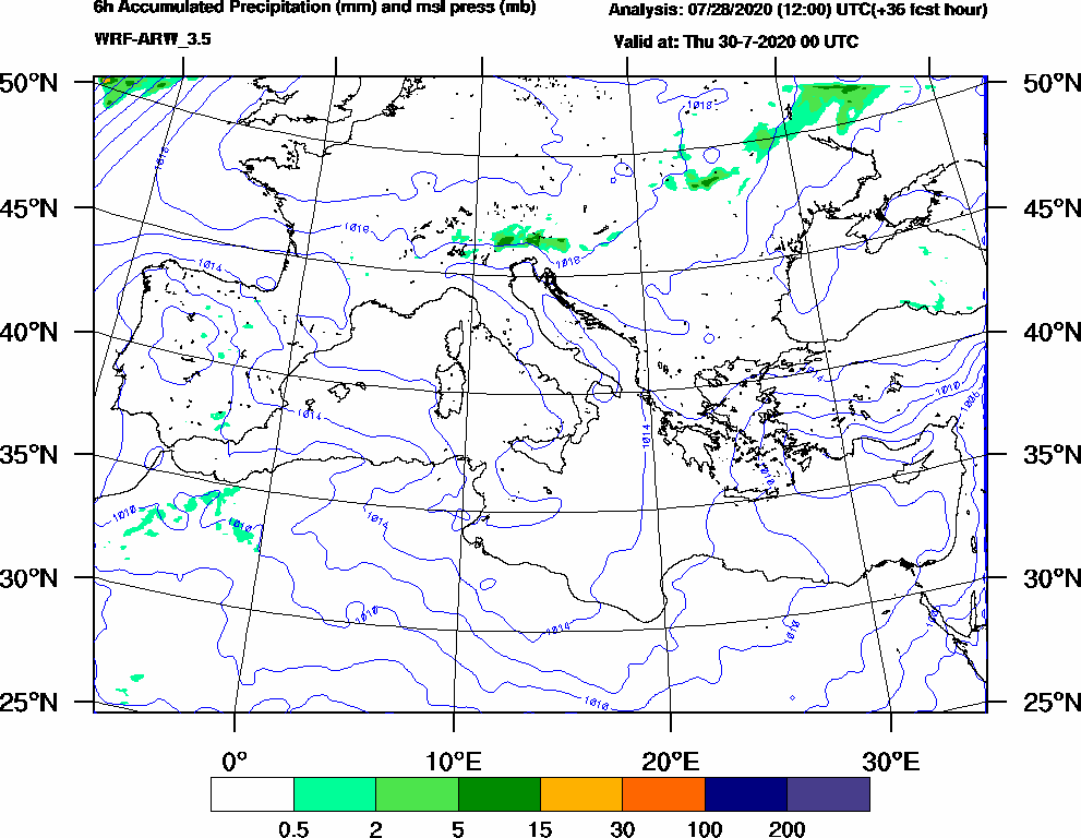 6h Accumulated Precipitation (mm) and msl press (mb) - 2020-07-29 18:00
