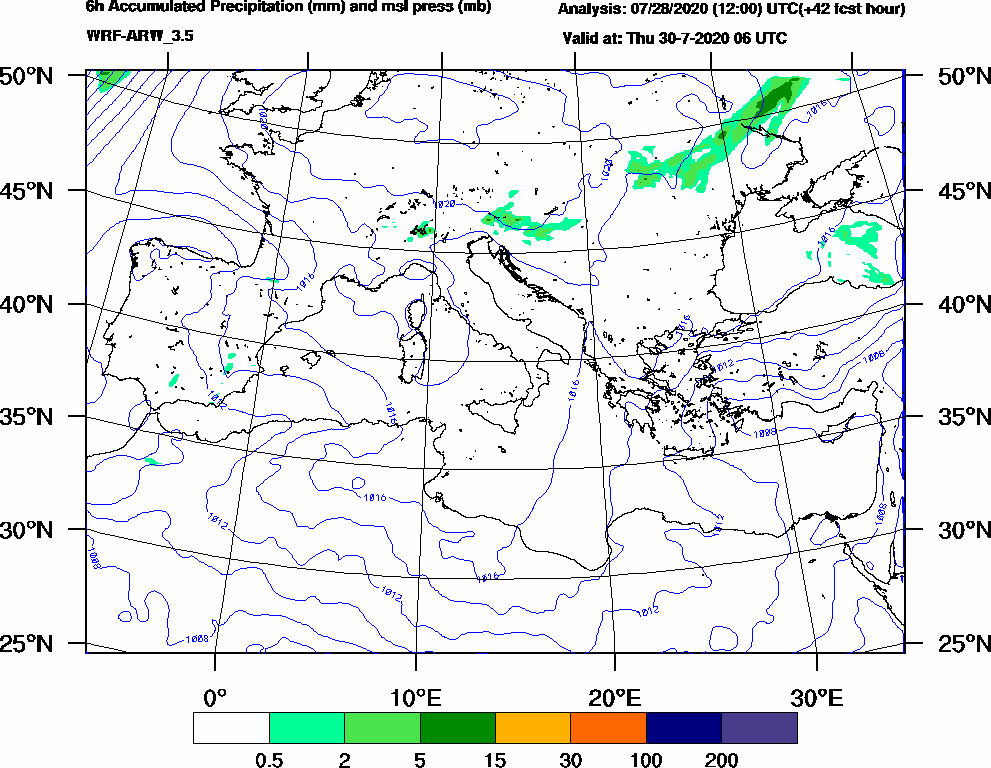 6h Accumulated Precipitation (mm) and msl press (mb) - 2020-07-30 00:00