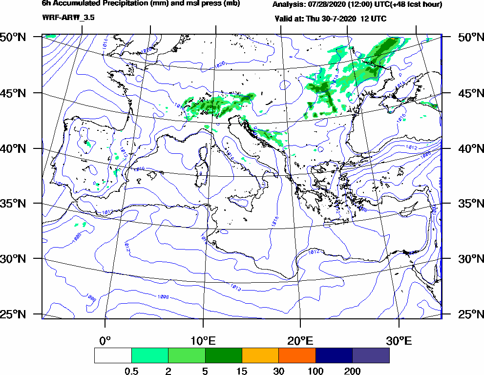 6h Accumulated Precipitation (mm) and msl press (mb) - 2020-07-30 06:00