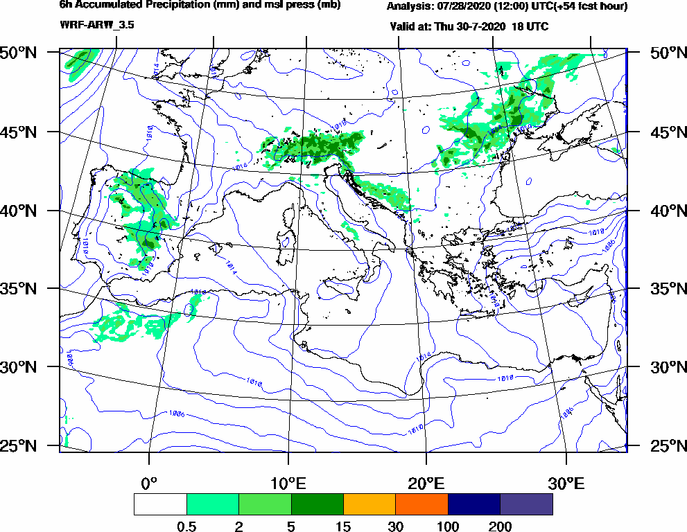 6h Accumulated Precipitation (mm) and msl press (mb) - 2020-07-30 12:00
