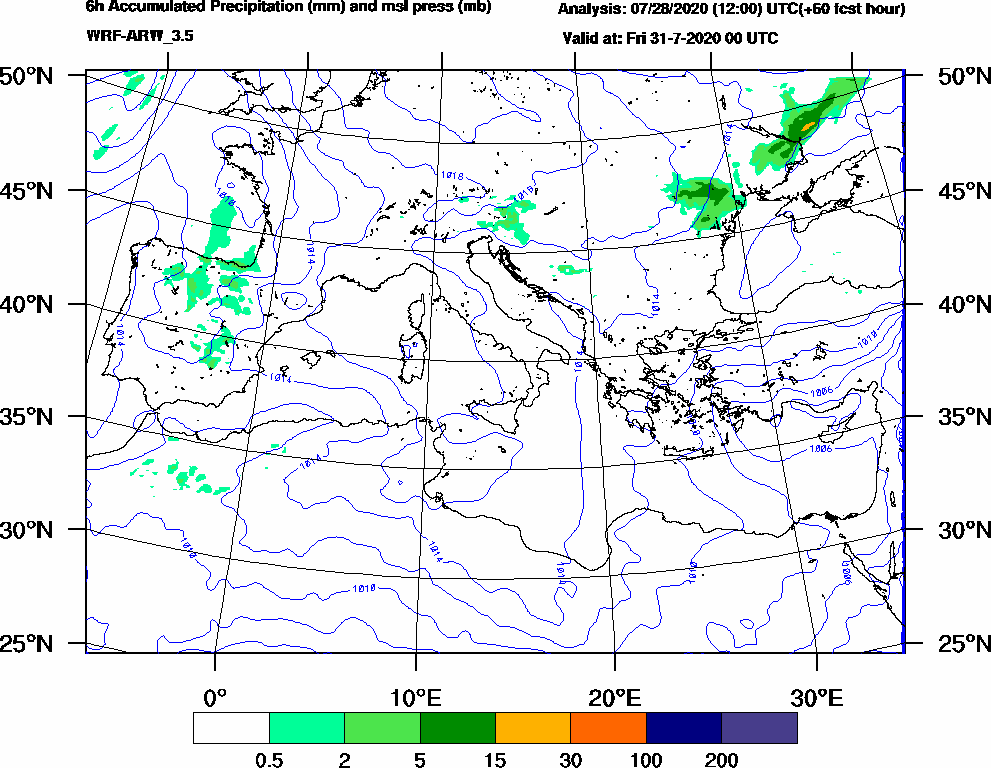 6h Accumulated Precipitation (mm) and msl press (mb) - 2020-07-30 18:00