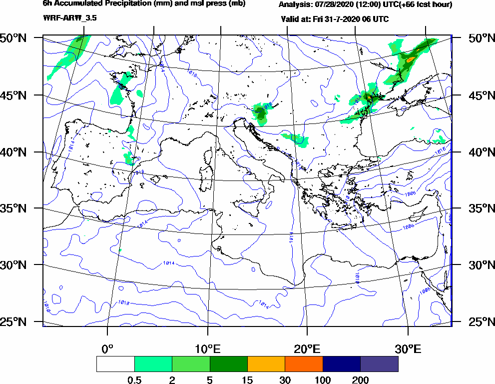6h Accumulated Precipitation (mm) and msl press (mb) - 2020-07-31 00:00
