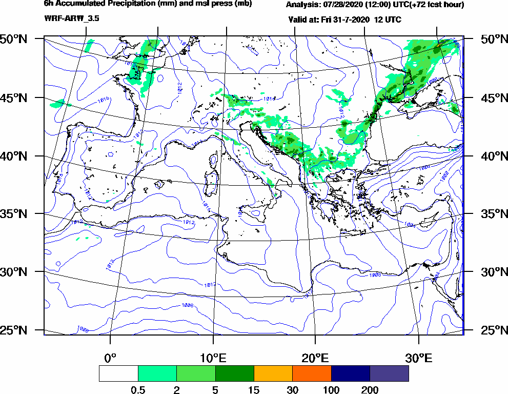 6h Accumulated Precipitation (mm) and msl press (mb) - 2020-07-31 06:00