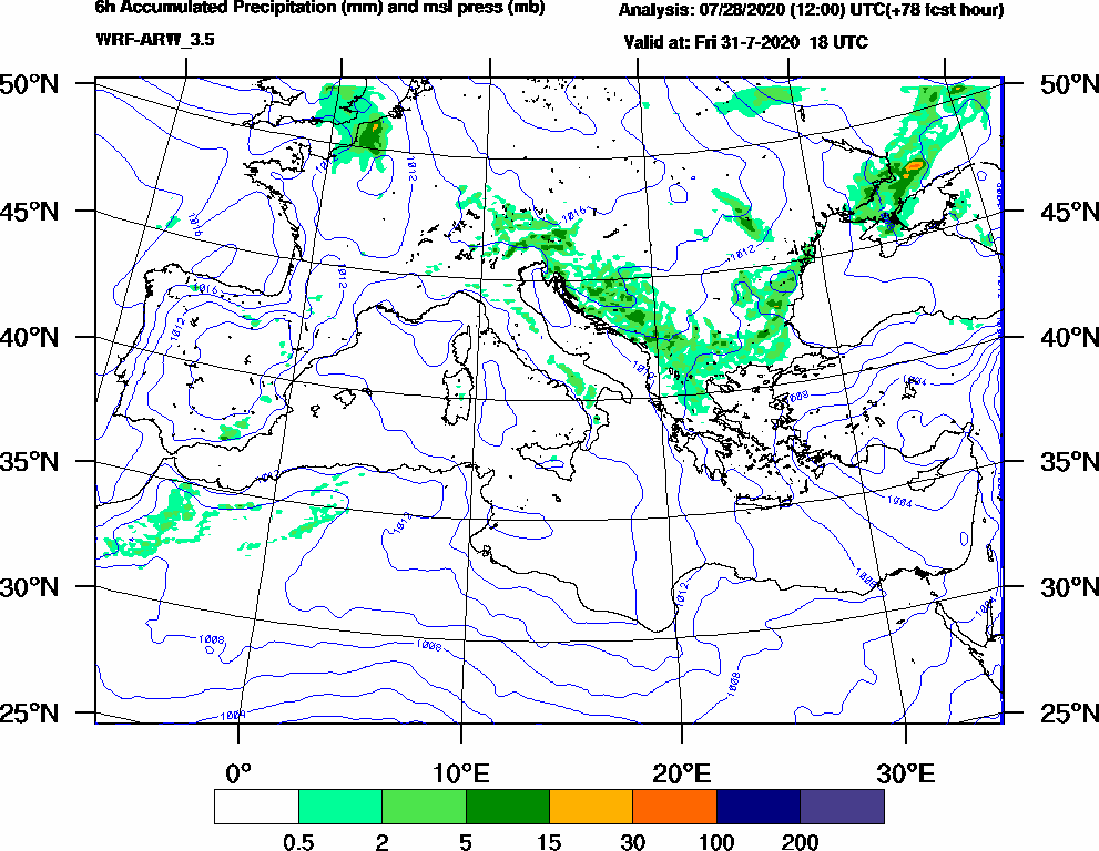 6h Accumulated Precipitation (mm) and msl press (mb) - 2020-07-31 12:00