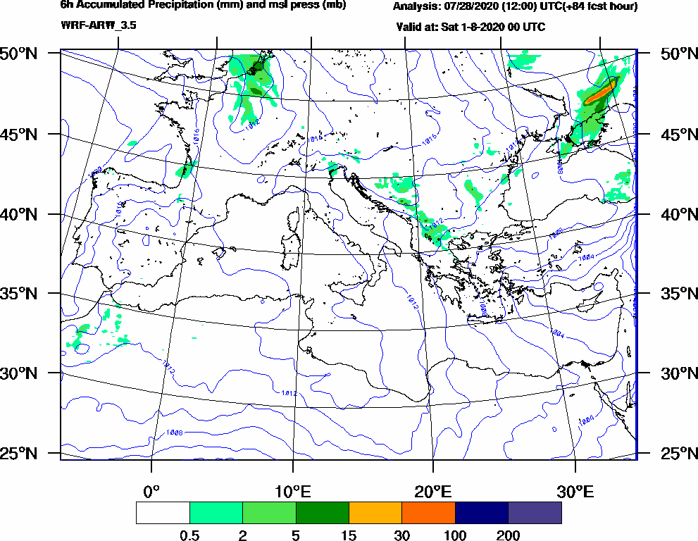 6h Accumulated Precipitation (mm) and msl press (mb) - 2020-07-31 18:00