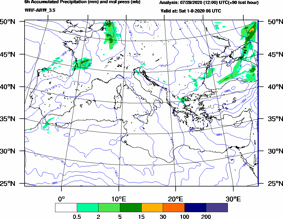 6h Accumulated Precipitation (mm) and msl press (mb) - 2020-08-01 00:00