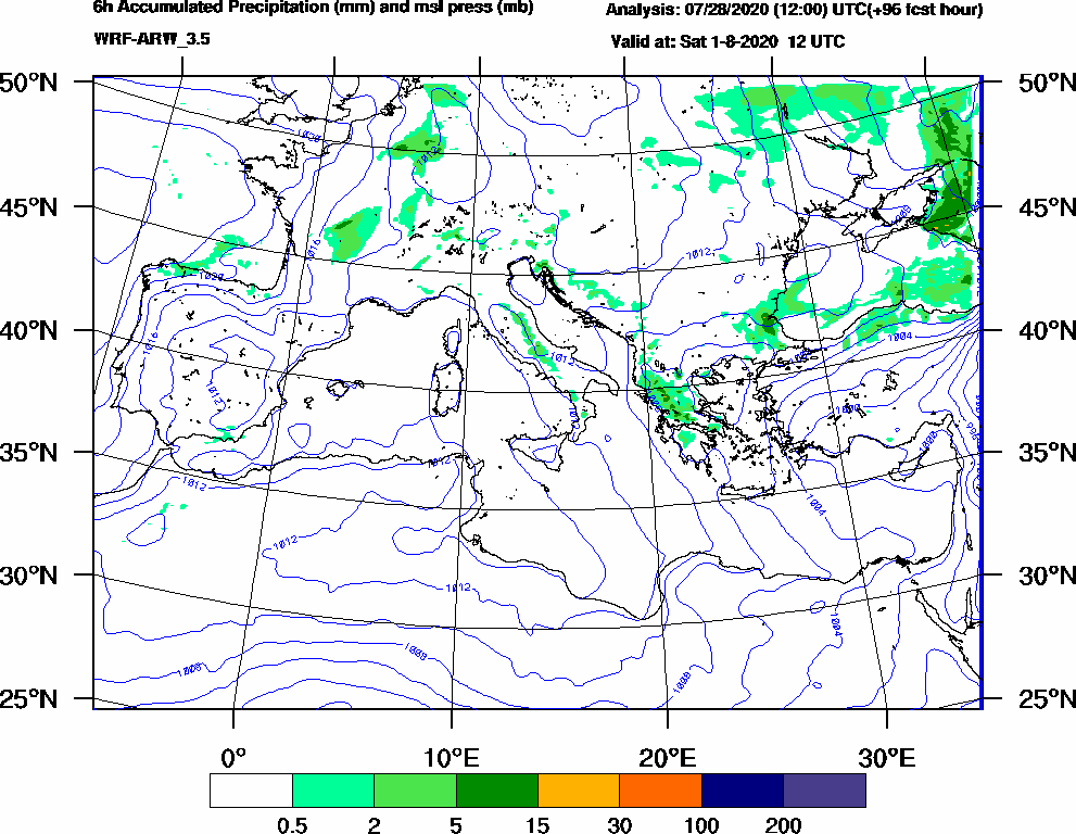6h Accumulated Precipitation (mm) and msl press (mb) - 2020-08-01 06:00