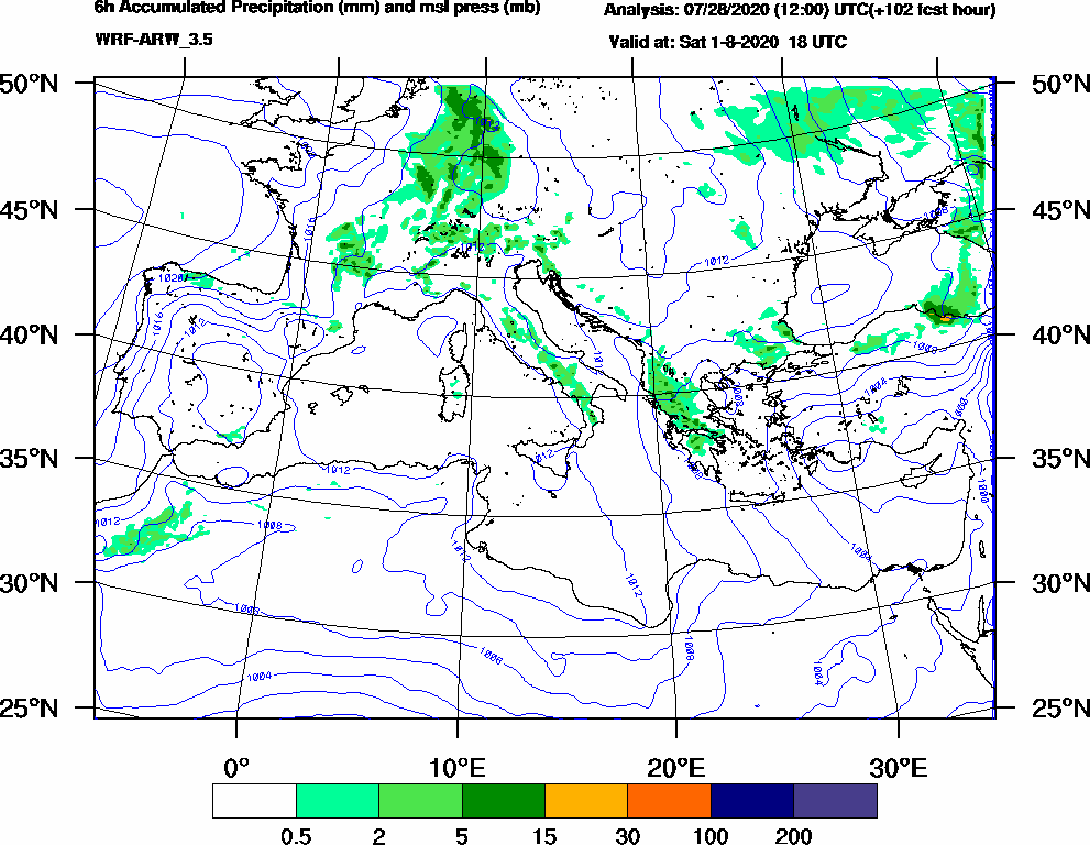6h Accumulated Precipitation (mm) and msl press (mb) - 2020-08-01 12:00