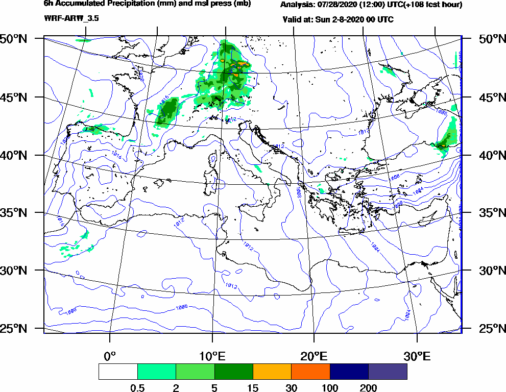 6h Accumulated Precipitation (mm) and msl press (mb) - 2020-08-01 18:00