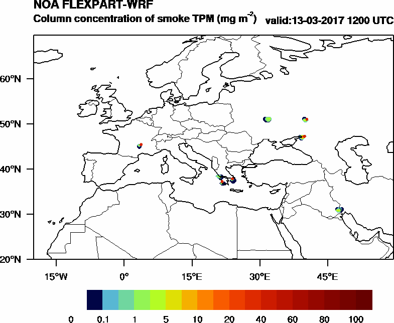 Column concentration of smoke TPM - 2017-03-13 12:00