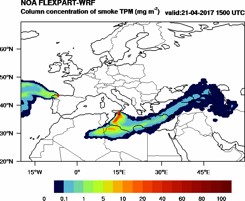 Column concentration of smoke TPM - 2017-04-21 15:00