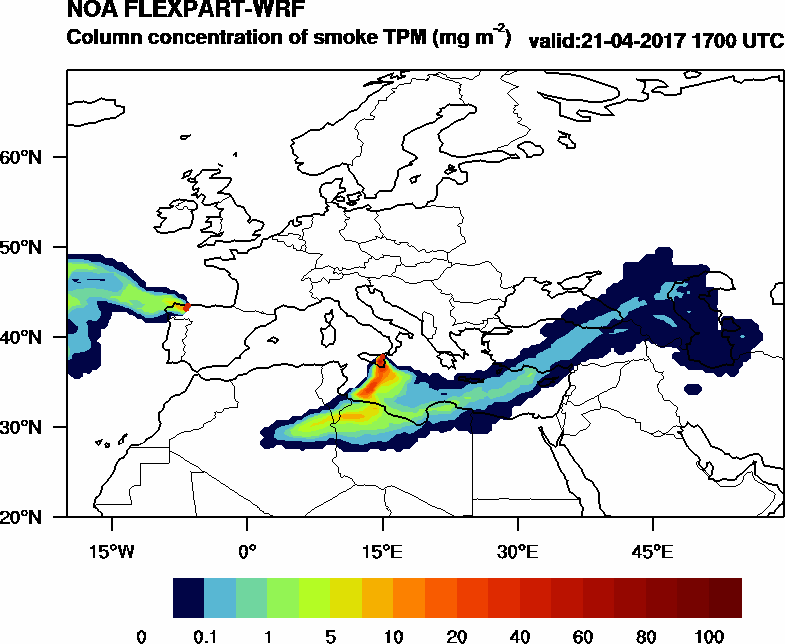 Column concentration of smoke TPM - 2017-04-21 17:00