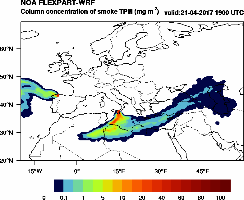 Column concentration of smoke TPM - 2017-04-21 19:00