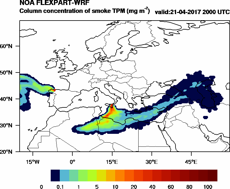Column concentration of smoke TPM - 2017-04-21 20:00