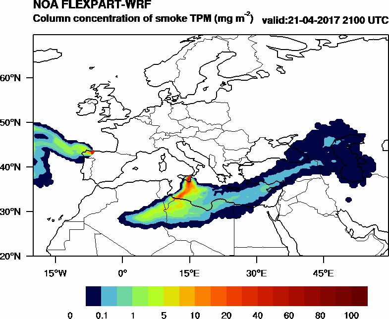 Column concentration of smoke TPM - 2017-04-21 21:00