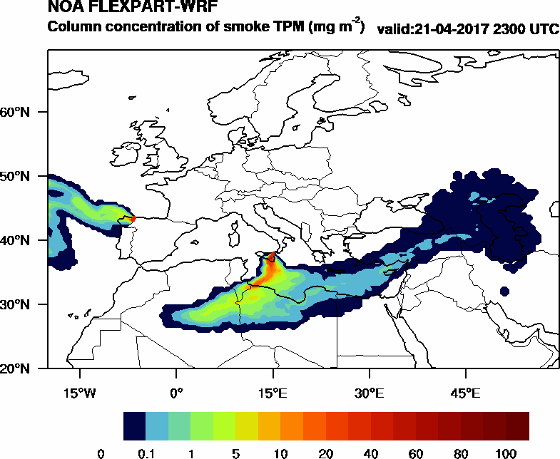 Column concentration of smoke TPM - 2017-04-21 23:00