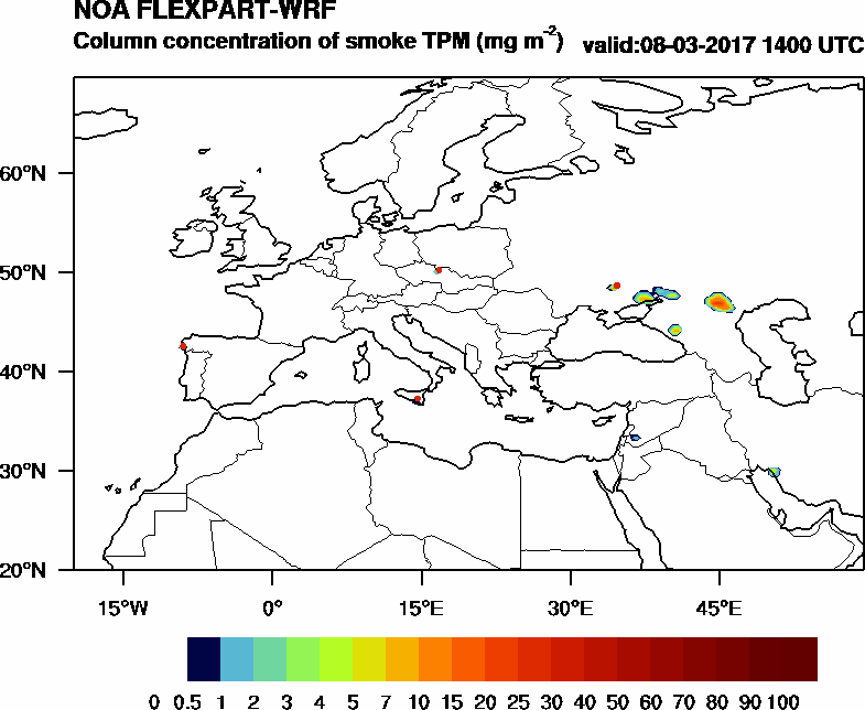 Column concentration of smoke TPM - 2017-03-08 14:00