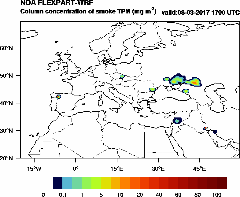 Column concentration of smoke TPM - 2017-03-08 17:00