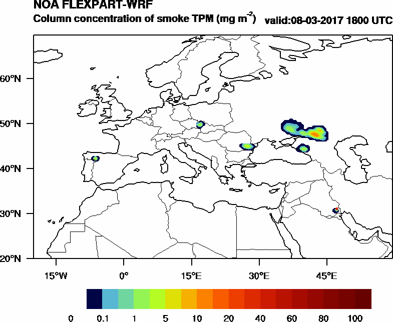 Column concentration of smoke TPM - 2017-03-08 18:00