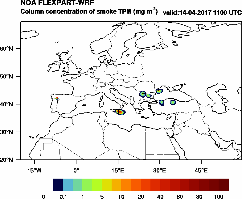 Column concentration of smoke TPM - 2017-04-14 11:00
