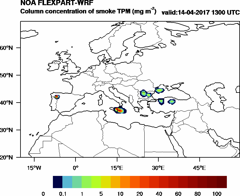 Column concentration of smoke TPM - 2017-04-14 13:00