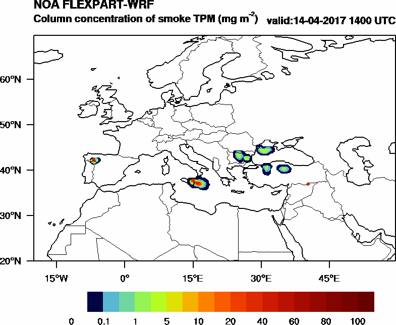 Column concentration of smoke TPM - 2017-04-14 14:00