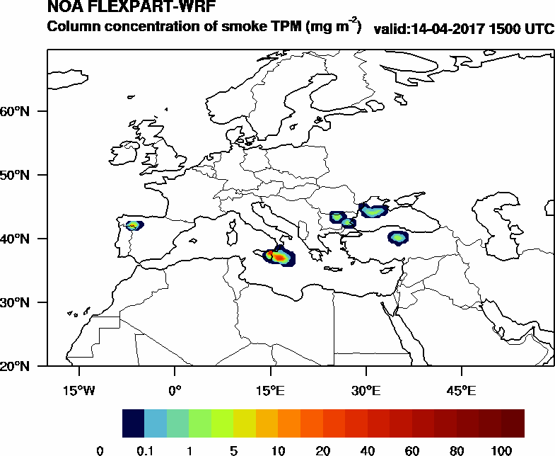 Column concentration of smoke TPM - 2017-04-14 15:00