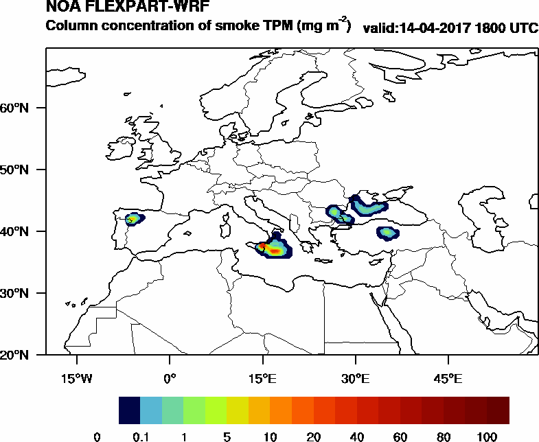 Column concentration of smoke TPM - 2017-04-14 18:00