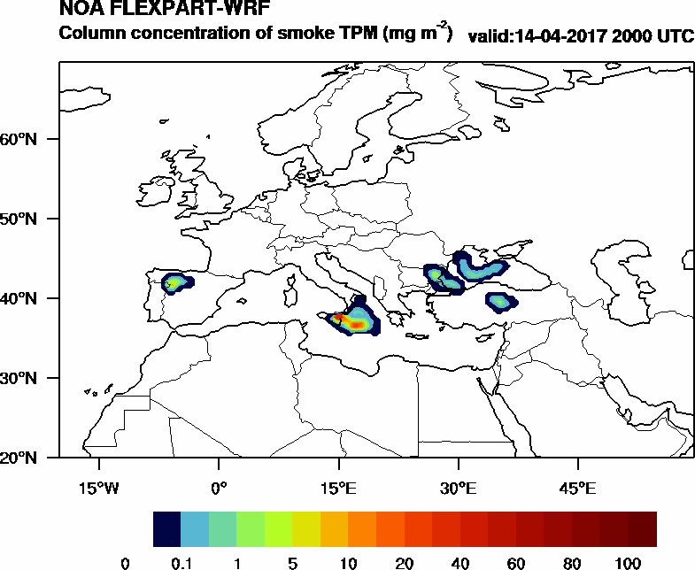 Column concentration of smoke TPM - 2017-04-14 20:00