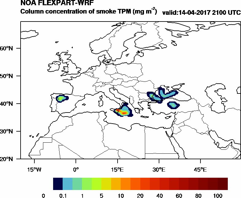 Column concentration of smoke TPM - 2017-04-14 21:00