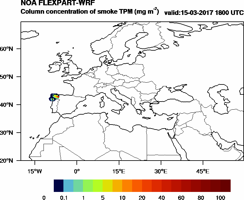 Column concentration of smoke TPM - 2017-03-15 18:00