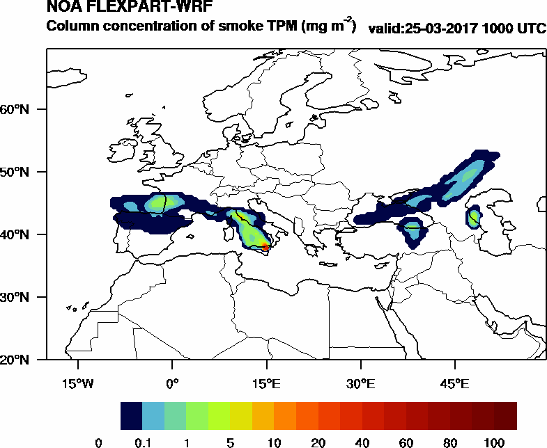 Column concentration of smoke TPM - 2017-03-25 10:00