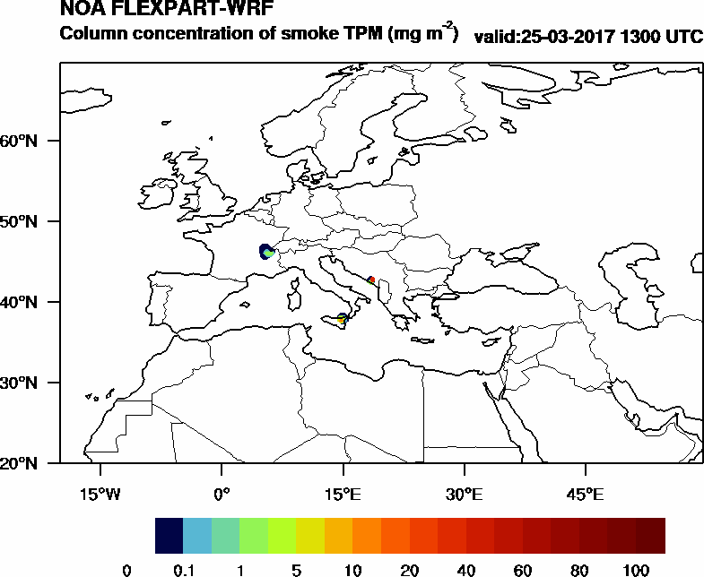 Column concentration of smoke TPM - 2017-03-25 13:00