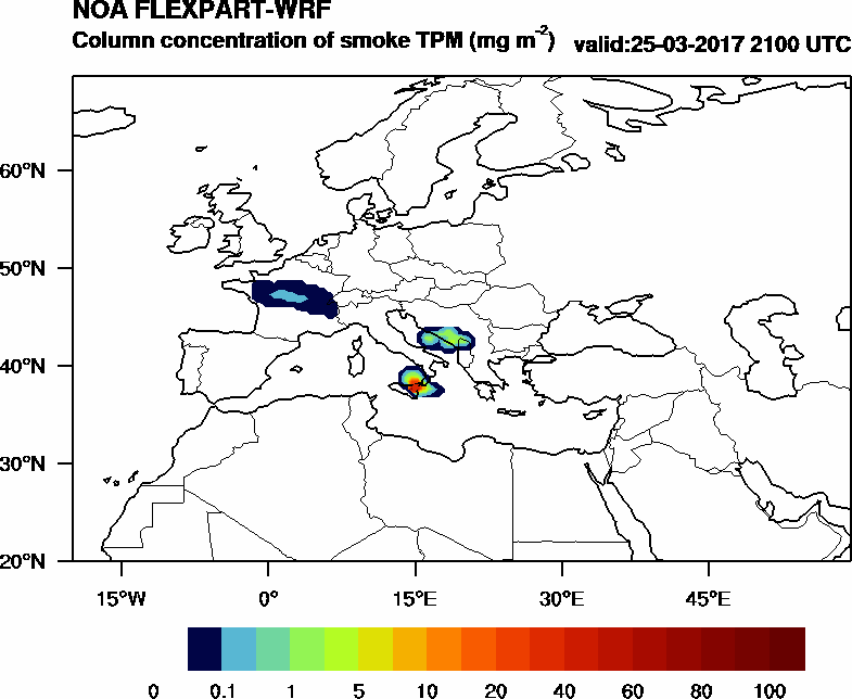 Column concentration of smoke TPM - 2017-03-25 21:00
