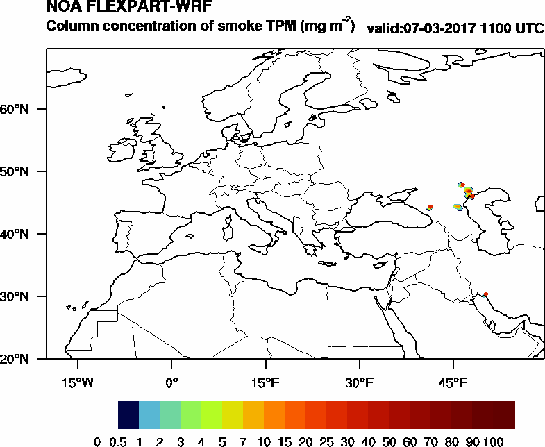 Column concentration of smoke TPM - 2017-03-07 11:00