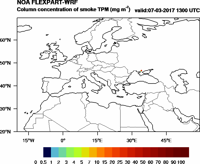 Column concentration of smoke TPM - 2017-03-07 13:00