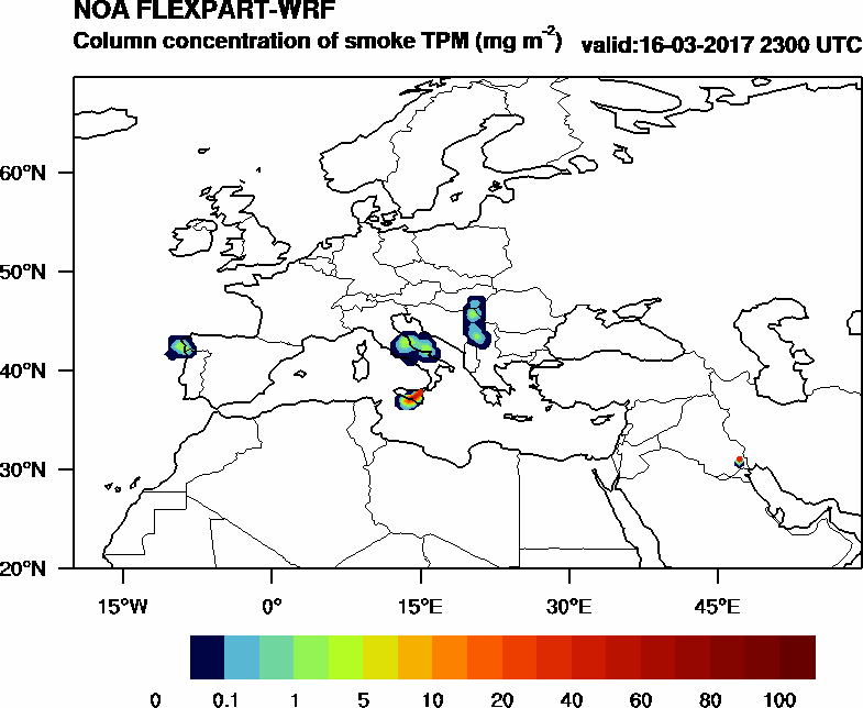 Column concentration of smoke TPM - 2017-03-16 23:00