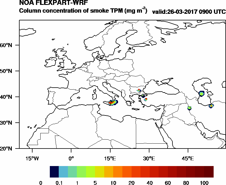 Column concentration of smoke TPM - 2017-03-26 09:00
