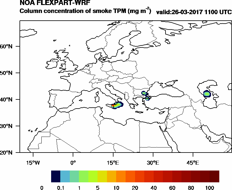 Column concentration of smoke TPM - 2017-03-26 11:00