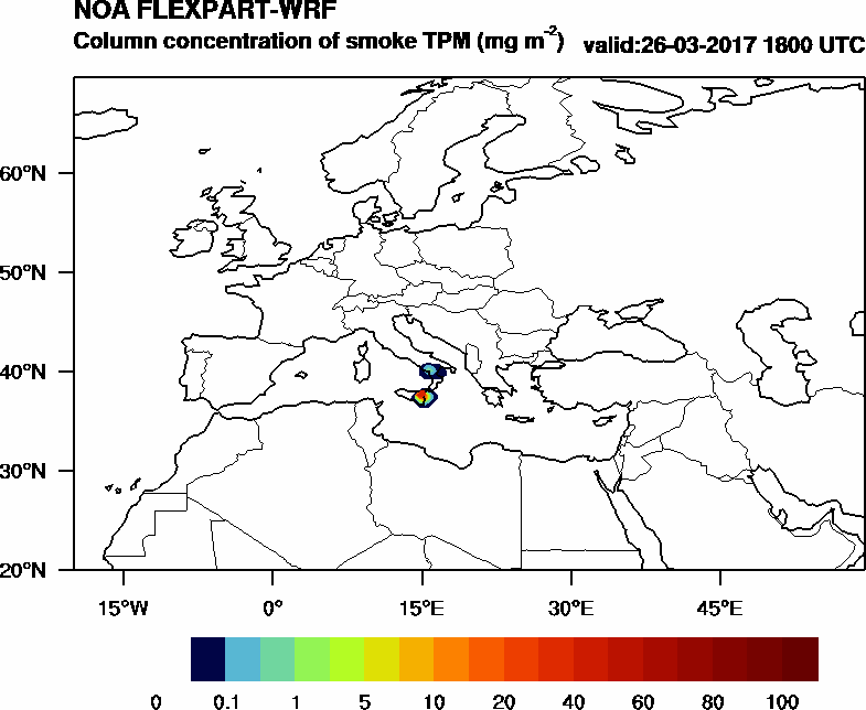 Column concentration of smoke TPM - 2017-03-26 18:00
