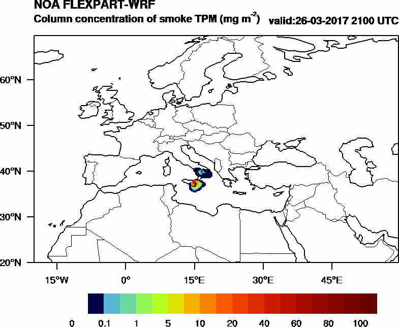 Column concentration of smoke TPM - 2017-03-26 21:00